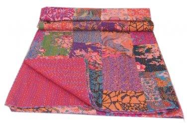 Indian Handmade Queen Size Patchwork Kantha Quilt Reversible Throw Bedspread