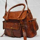 Handmade Vintage Messenger Real Leather Bag Shoulder Satchel Ladies Briefcase