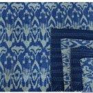 Handmade Blue Ikat Kantha Quilt Cotton Throw Queen Size Bedsheet Bedspread Ralli