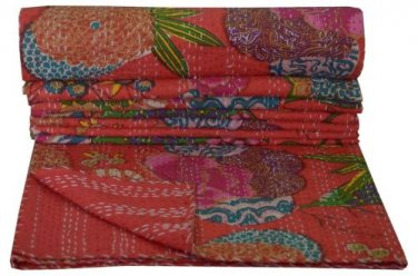 Indian Twin Size Red Tropical Kantha Quilt Reversible Throw Bedspread Home Decor