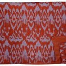 Indian Handmade Twin Size Orange Ikat Kantha Quilt Reversible Throw Bedspread