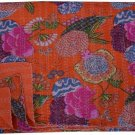 Indian Twin Size Orange Tropical Handmade Kantha Quilt Bedcover Throw Bedspread