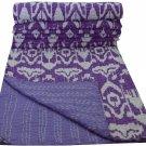 Twin Size Handmade Purple Ikat Kantha Quilt Reversible Sari Throw Bedspread