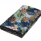 Indian Handmade Twin Size Blue Paisley Kantha Quilt Reversible Bedspread Throw