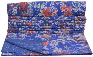 Indian Twin Blue Bird of Paradise Kantha Quilt Reversible Throw Bedspread Ralli