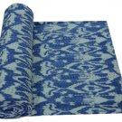 Handmade Blue Ikat Kantha Quilt Cotton Throw Twin Size Bedsheet Bedspread Ralli