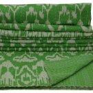 Indian Twin Size Handmade Green Ikat Kantha Quilt Cotton Throw Bedspread Ralli