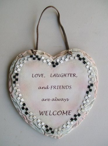 Heart Shaped Love Laughter And Friends Always Welcome Ceramic Plaque Wall Decor Hanging