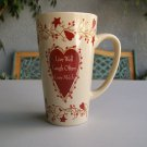 Tall Mug Live Well Laugh Often Love Much New Coffee Latte Tea Brown Burgundy Hearts