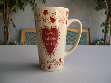 Tall Mug Live Well Laugh Often Love Much New Coffee Latte Tea Brown Burgundy Hearts