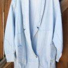 80's Style Denim Jacket Silver Heart Accents Large L Light Stonewashed Retro Vintage