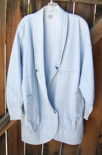 80�s Style Denim Jacket Silver Heart Accents Large L Light Stonewashed Retro Vintage