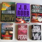 Mystery Thriller Suspense Book Lot Cornwell Kellerman Hooper Robb Brown Hardcover Paperback