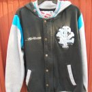 Fly Racing Hooded Jacket Black Gray Blue Letterman Baseball Style Zip Up Snaps S
