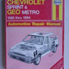 Haynes Chevrolet Sprint Geo Metro 1985 Thru 1994 Repair Manual Shop Book