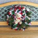 Christmas Rag Wreath With Santa Bear In A Crocheted Hat