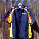 Team Suzuki Pit Crew Racing Shirt XL Button Front Yellow Blue Red Cooling Mesh Vents