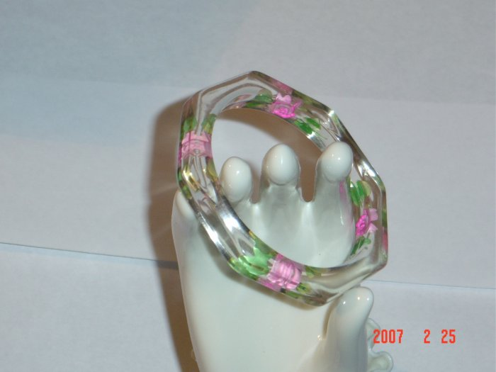 Lucite Bangle Bracelet with Carved Painted Flowers