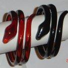 Snake Plastic Twisted Bangle Bracelet Set Black Brown