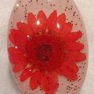 Lucite White Ring Orange Flower & Silver Glitter Confetti Inside Size 6