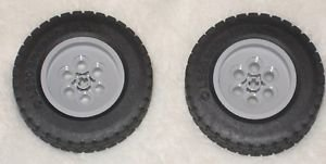 Legos Technic 62.4 x 20 S (2) Tires and Gray Wheels