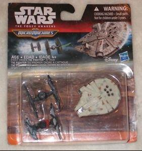 Micro Machines Star Wars Force Awakens Millennium Falcon, Two Tie Fighter Set