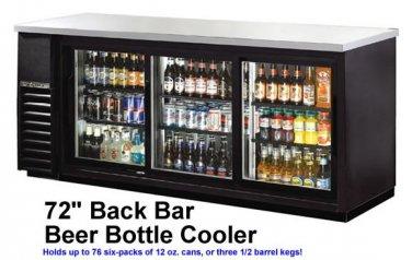 """72"""" Commercial Black Triple Door Back Bar Cooler Refrigerator Beer Dispenser"""