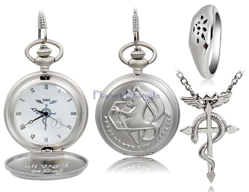 Anime Fullmetal Alchemist Design Pocket Watch, Ring & Necklace Set