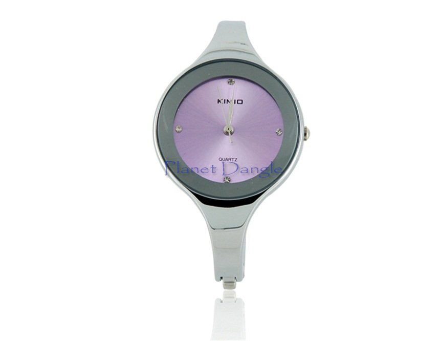 Lady's Electronic Stainless Steel Rounded Bracelet Wrist Watch (Purple)
