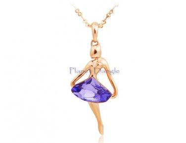 Ballerina 18K RGP Gold-filled Purple Cubic Zirconia Pendant Necklace
