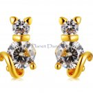 NEW Cute Cat Design Crystal Decorated Earrings (Golden)