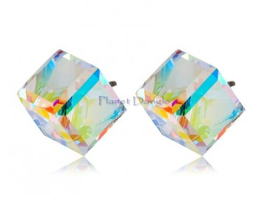 Aurora Borealis Crystal with Swarovski elements 18K GP Earrings (White Gold)