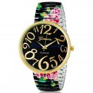 NEW Fashion Beautiful Flower Design Metal Elastic Band Round Dial Quartz Women's Wrist Watch
