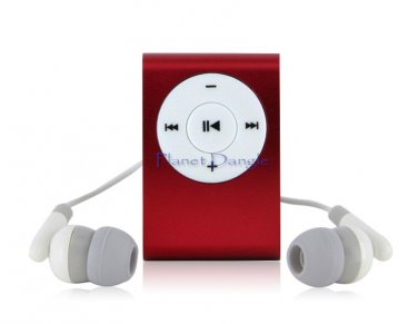 Clip-on Mini MP3 Player for TF Card Reader (Red)