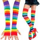 Women Warm Sexy Autumn Winter Fingerless Gloves Rainbow anime Stockings Socks Beauty rainbow tights