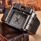 Men Fashion Large Quartz Square Dial Wide Strap  Black Oulm Wristwatch