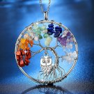 Tree of Life Rainbow Chakra Owl Hand-Crafted Natural Stone Beads Necklace with  Chain