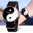 Women Yin Yang Round Dial Design Rose Gold Watch  Stylish Quartz Wristwatch