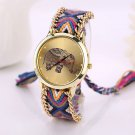 Women Elephant Weaved Rope Band Bracelet Dial Quartz Wristwatch