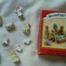 Pottery nativity set 11 piece tiny doll size colorful detailed Cermanic Mini new