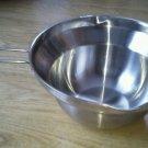 Double Boiler Pan Double Handle Stainless Steel Bowl Bottom Pour Spout Quart EUC