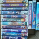 Set of 14 Walt Disney VHS Movies Clamshell Cinderella Winnie 101 Dal Oliver EUC