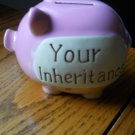 Rosy Pastel Pink YOUR INHERITANCE Pig Piggy Bank Rubber Bottom stopper Ceramic