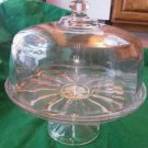 Glass Cake Plate Vintage Anchor Hocking Dome Stand Store Resturant Heavy Lid EUC