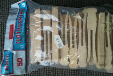 Penley Package of 49 Wooden flat head Clothes pins Clothespins Craft Vintage USA