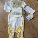 3 Pc Take Me Home Set Carters 6-9 mos Bodysuit Bib Footed Pants Yellow Duck NEW