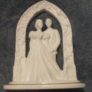 Vintage Bride and Groom Lenox Wedding Moments Arbor White Cake topper Flowers