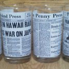 Set of 6 Cleveland Penny Press glass Newspaper Ohio Titanic Lindbergh Moon WWII
