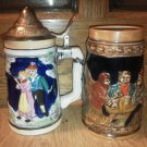 Set of 2 Vintage Couple Colorful Stein Lid Drinking Dancing Japan Ceramic Glass
