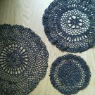 Set of 3 black Silver Crochet Dollies round different sizes Vintage Handmade Lot